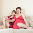 Royalty-Free Stock Photo: Relaxed women lying on sofa