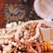 Stock Photo: Wooden beads background