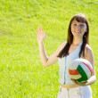 Girl playing volleyball — Stock Photo