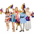 Stock Photo: Group of girls holding shopping bags