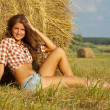 Girl in checked shirt — Stockfoto