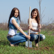 Two women planting tree — Stock Photo #5727956