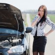 Stock Photo: Woman waiting support near broken car
