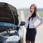 Woman waiting support near broken car — Stock Photo #5728995