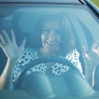 Fright  driver in car — Stock Photo