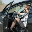 Woman get in the car — Stock Photo