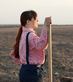 Female farmer in field — Stock Photo