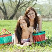 Happy women relaxing outdoor — Stock Photo