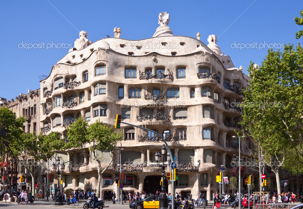 View of Barcelona, Spain. Casa Mila (La Pedrera) – Stock ...