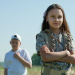 Стоковое фото: Teenager boy and girl having conflict