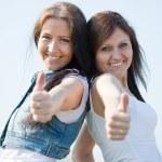 Happy women with thumb up — Stock Photo #6038069