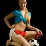 Sexy female soccer fan — Stock Photo #6038616