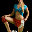 Woman posing with soccer ball — Stock Photo #6038664