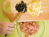 Closeup of making stuff for stuffed tomato — Stock Photo