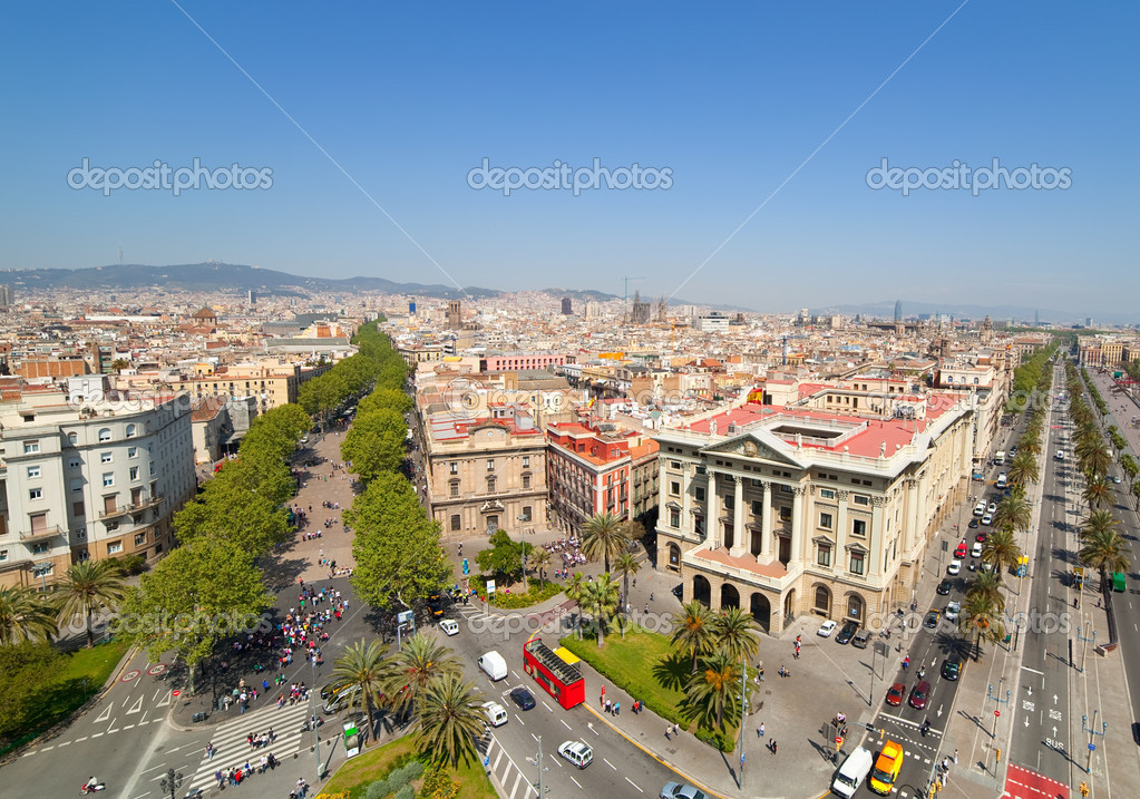 View of Barcelona. Aerial view from the Columbus Column  Stock Photo #6038038