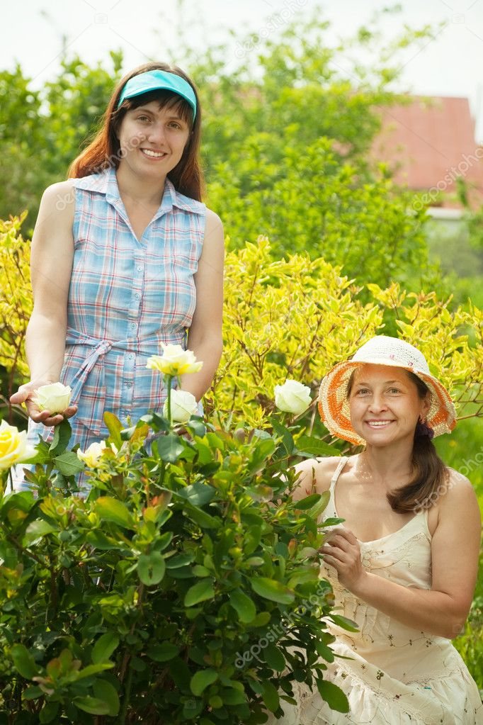 Two female gardeners in rose plant at garden — Stock Photo #6039156