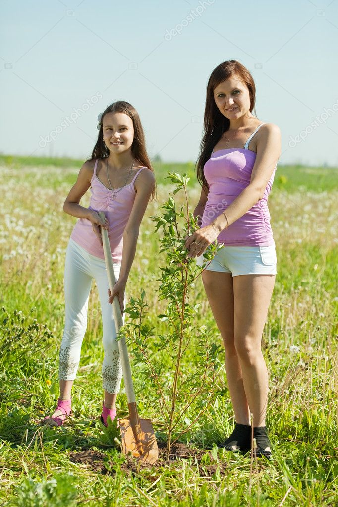 Woman and her teen daughter planting tree — Stock Photo #6039525