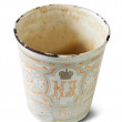 Vintage metallic cup with  Nicholas II emblem — Stock Photo