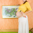 Pregnant womwith art picture — Stockfoto #6040383