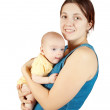 Happy mother with 3 month baby — Stock Photo
