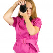 Stock Photo: Young girl with camera