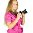 Female photographer with camera — Stock Photo #6040957