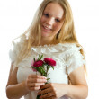 Pretty girl with flowers - Stockfoto
