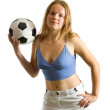 Girl posing with football ball — Stock Photo #6041010