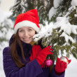 Portrait of  woman in winter - Stockfoto