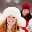 Girls workouts at winter park — Stock Photo