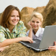 Stock Photo: Girls with notebook in farm