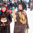 Happy russian girls in during Shrovetide — Stock Photo