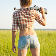 Girl with pneumatic air rifle — Stockfoto #6042754