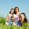 Two women with teens — Stock Photo