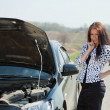 Stock Photo: Womwith her breakage car