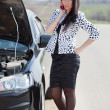 Woman waiting support near broken car — Stock Photo