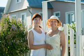 Women near fence wicket of home — Stock Photo