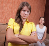 Mother and teen daughter after quarrel — Stock Photo