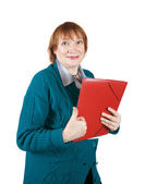 Senior woman with documents — Stockfoto