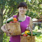 Woman with baskets of harvested vegetables — Stock Photo