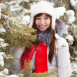 Woman near pine in winter — Stock Photo #6051188