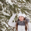 Girl in wintry pine forest — Stock Photo #6051198