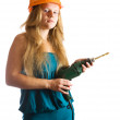 Stock Photo: Girl in hard hat with drill