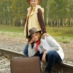 Girls on railway — Stock Photo