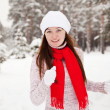 Girl workouts at winter park — Stock Photo