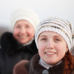 Happy women in winter — Stock Photo #6053390