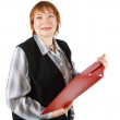 Senior businesswoman reading documents - Stock Photo