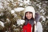 Portrait of woman in winter — Stock Photo