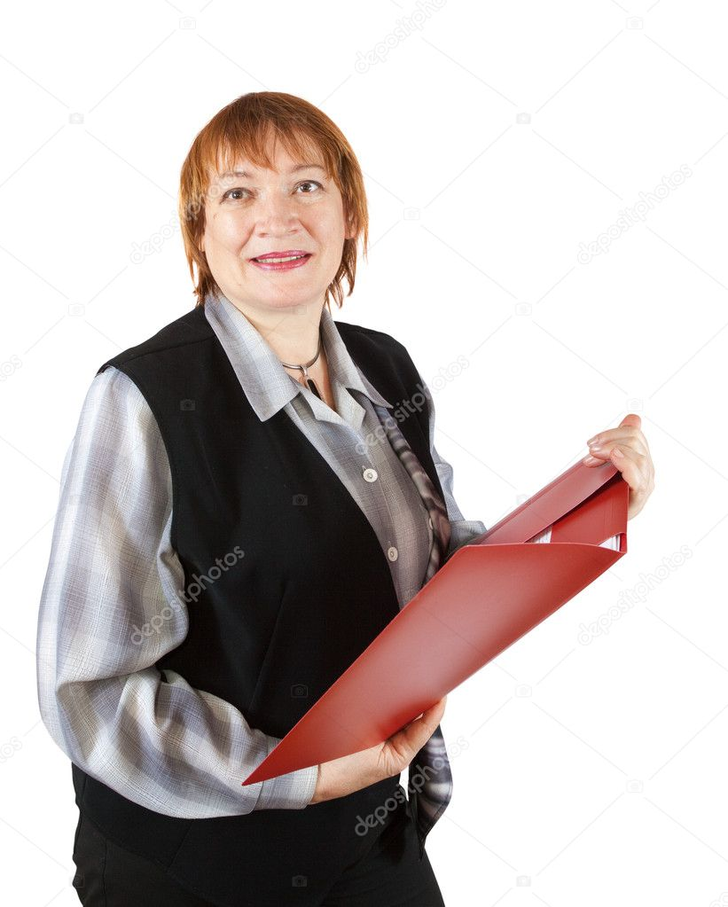 Senior businesswoman reading  documents on white background  — Stock Photo #6053860