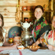 Women near russian samovar — Stock Photo